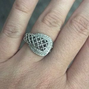 Jewelry - Sterling Silver and Diamond Buckle Ring